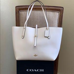 Coach Leather Market Tote Chalk / White